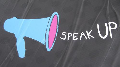 """Flickr CC: HowardLake """"Speak up, make your voice heard"""""""